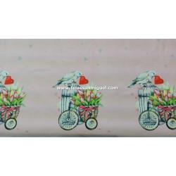 Algodón digital bicicletas y corazones (efecto espejo)
