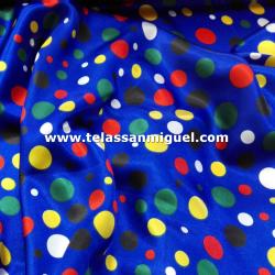 Raso carnaval estampado lunares multicolores fondo azul
