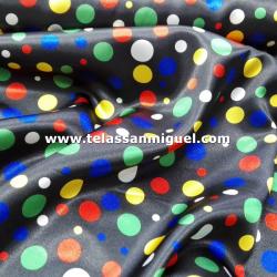 Raso carnaval estampado lunares multicolores fondo negro