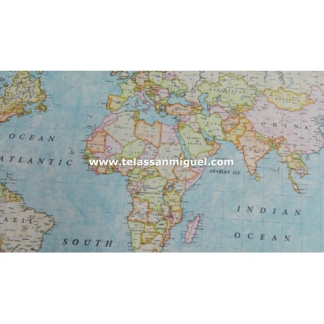 Loneta Mapa Mundi azul