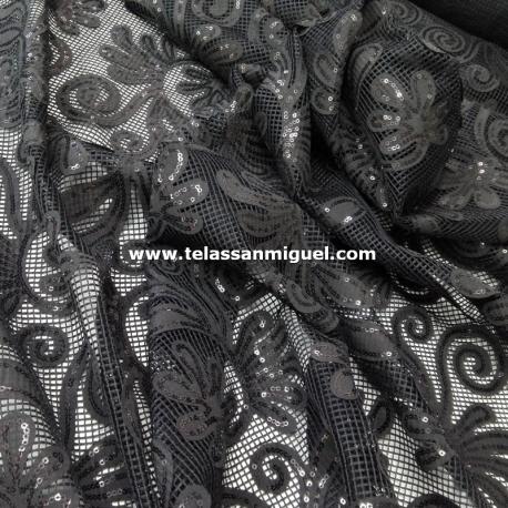 Rejilla negra lentejuela flor