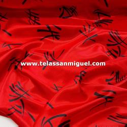 Raso carnaval estampado letras chinas fondo rojo