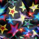 Raso carnaval estrellas multicolor fondo negro