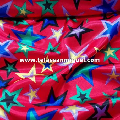 Raso carnaval estrellas multicolor fondo rojo