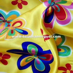 Raso carnaval estampado flor hipie fondo amarillo