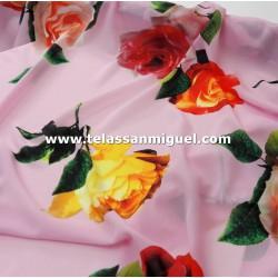 Seda floral serie Laya rosa