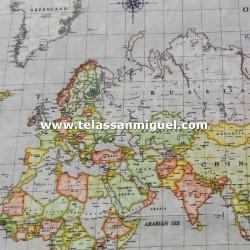 Loneta Mapa Mundi beis