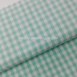 Vichy algodón cuadro verde agua