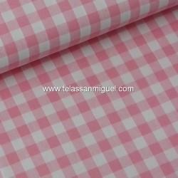 Vichy algodón cuadro rosa
