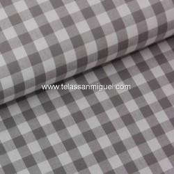 Vichy algodón cuadro gris