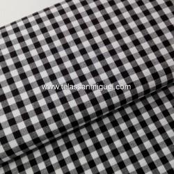 Vichy algodón cuadro negro