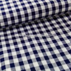 Vichy algodón cuadro azul marino