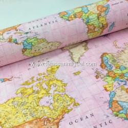 Loneta Mapa Mundi rosa