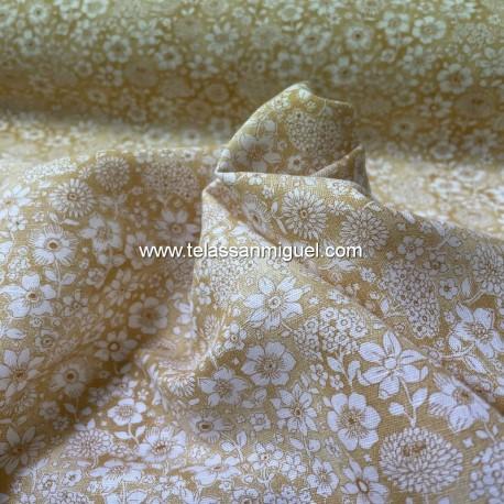 Lino algodón flores mostaza